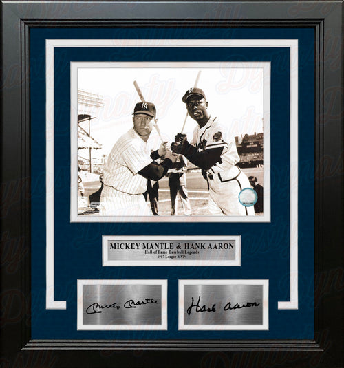 "Mickey Mantle & Hank Aaron 8"" x 10"" Framed Baseball Photo with Engraved Autographs - Dynasty Sports & Framing"