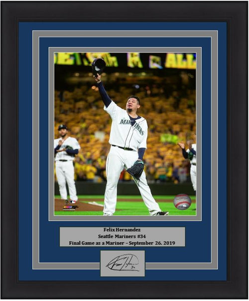 "Felix Hernandez Seattle Mariners Final Career Game in Seattle MLB Baseball 8"" x 10"" Framed and Matted Photo with Engraved Autograph - Dynasty Sports & Framing"