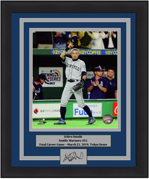 "Ichiro Suzuki Seattle Mariners Final Career Game at the Tokyo Dome MLB Baseball 8"" x 10"" Framed and Matted Photo with Engraved Autograph - Dynasty Sports & Framing"