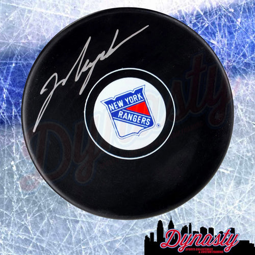 Mark Messier New York Rangers Autographed NHL Hockey Logo Puck - Dynasty Sports & Framing