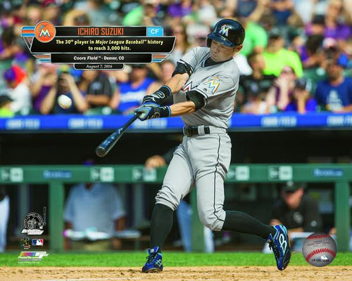 "Miami Marlins Ichiro Suzuki 3000th Hit MLB Baseball 8"" x 10"" Photo - Dynasty Sports & Framing"