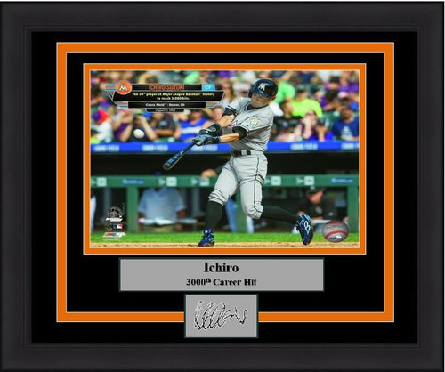 "Miami Marlins Ichiro Suzuki 3000th Hit Engraved Autograph MLB Baseball 8"" x 10"" Framed & Matted Photo (Dynasty Signature Collection) - Dynasty Sports & Framing"