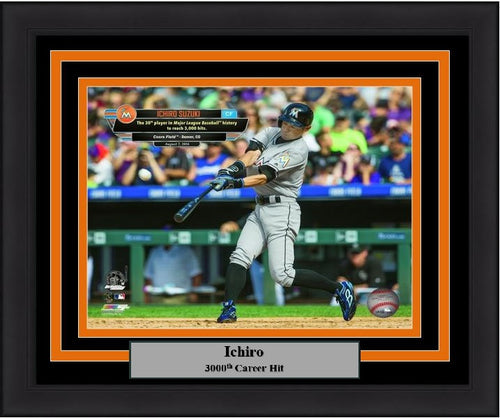 "Miami Marlins Ichiro Suzuki 3000th Hit MLB Baseball 8"" x 10"" Framed and Matted Photo - Dynasty Sports & Framing"