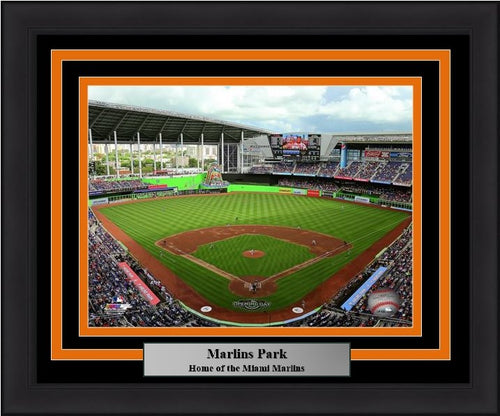 "Miami Marlins Marlins Park Stadium MLB Baseball 8"" x 10"" Framed and Matted Photo - Dynasty Sports & Framing"