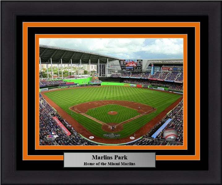 "Miami Marlins Marlins Park Stadium MLB Baseball 8"" x 10"" Framed and Matted Photo"