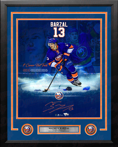 "Mathew Barzal First Career Hat Trick New York Islanders Autographed 16"" x 20"" Framed Hockey Photo - Dynasty Sports & Framing"