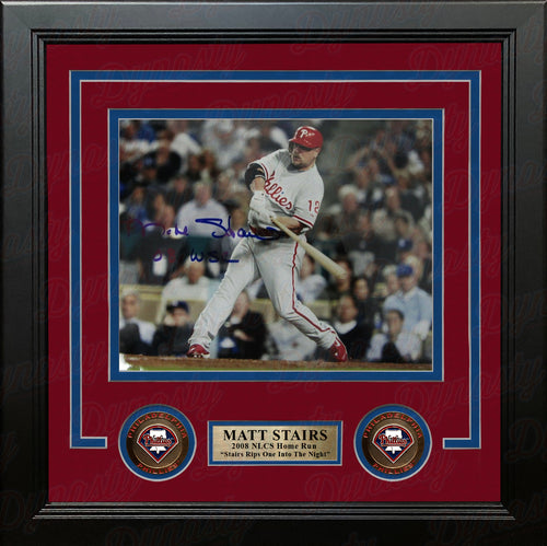 "Matt Stairs Philadelphia Phillies 2008 NLCS Home Run Autographed 8"" x 10"" Framed Baseball Photo - Dynasty Sports & Framing"