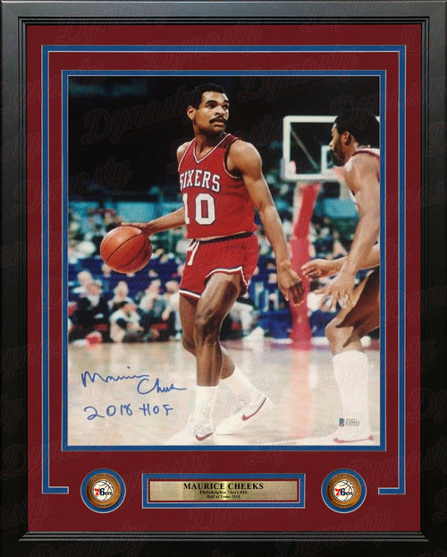 "Maurice Cheeks in Action Philadelphia 76ers Autographed 11"" x 14"" Framed Basketball Photo - Dynasty Sports & Framing"