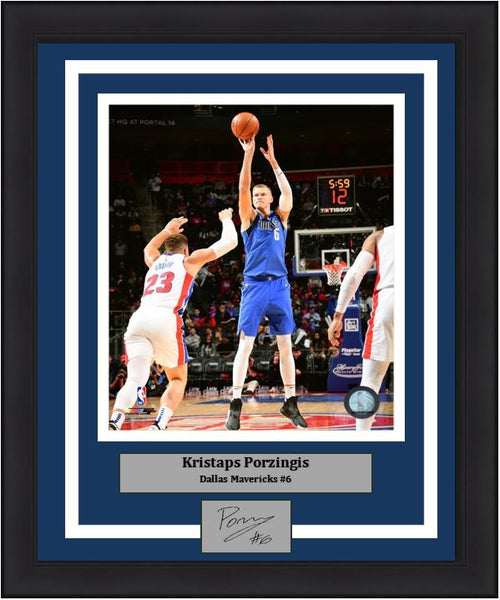Kristaps Porzingis in Action Dallas Mavericks 8x10 Framed Basketball Photo with Engraved Autograph - Dynasty Sports & Framing