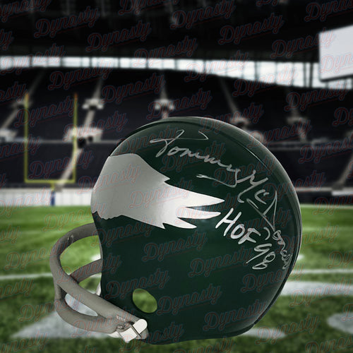 Tommy McDonald Philadelphia Eagles Autographed Throwback Mini-Helmet with Hall of Fame Inscription - Dynasty Sports & Framing