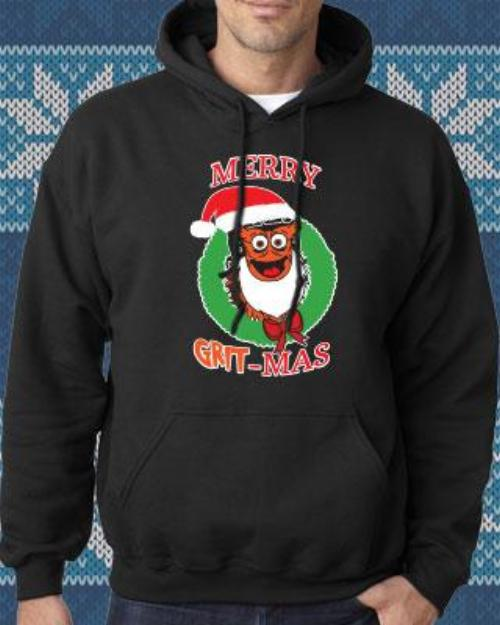 Philadelphia Hockey Merry Grit-Mas Mascot Hooded Sweatshirt (Adult) - Dynasty Sports & Framing