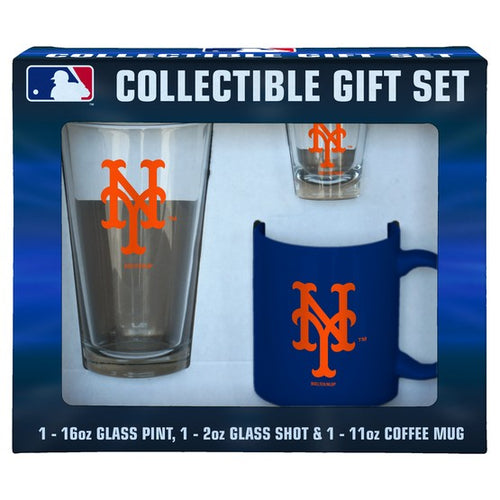New York Mets Baseball 3-Piece Glassware Gift Set - Dynasty Sports & Framing