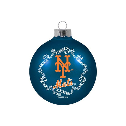 New York Mets Holiday Glass Ball Ornament - Dynasty Sports & Framing