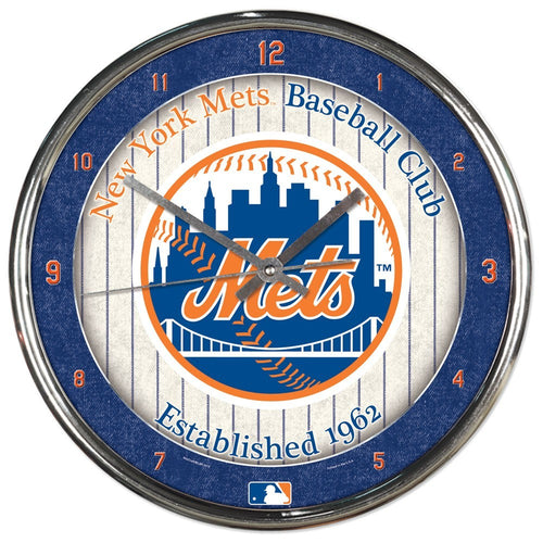 New York Mets Round Chrome Clock - Dynasty Sports & Framing