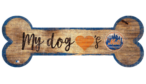 New York Mets Baseball Dog Bone Wooden Sign - Dynasty Sports & Framing