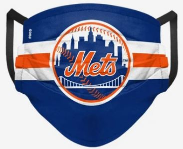 New York Mets Stripe Big Logo Pleated Face Cover Mask - Dynasty Sports & Framing
