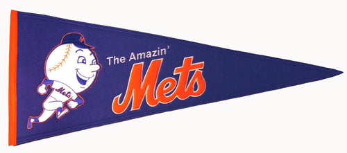 New York Mets MLB Baseball Mr. Met Vintage Felt Pennant - Dynasty Sports & Framing