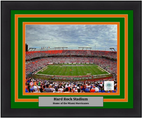 "Miami Hurricanes Hard Rock Stadium NCAA College Football 8"" x 10"" Framed and Matted Photo - Dynasty Sports & Framing"