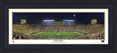 "Michigan Wolverines Night to Remember 42"" x 18"" Framed and Matted Stadium Panorama - Dynasty Sports & Framing"