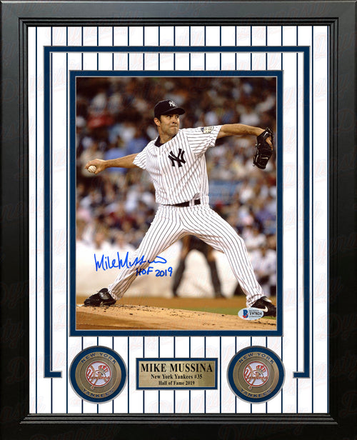 "Mike Mussina Hall of Fame New York Yankees Autographed 8"" x 10"" Framed Baseball Photo - Dynasty Sports & Framing"