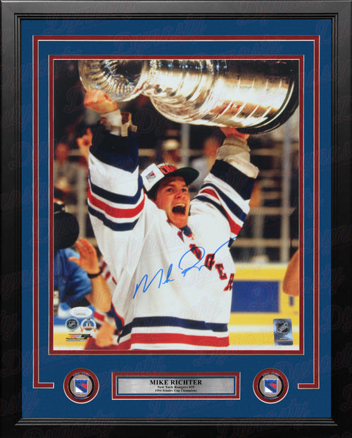 "Mike Richter Stanley Cup New York Rangers Autographed 11"" x 14"" Framed Hockey Photo - Dynasty Sports & Framing"
