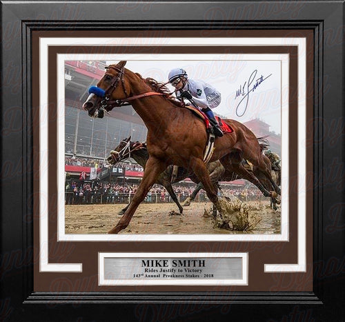 "Mike Smith & Justify Horse Racing 2018 Preakness Stakes Autographed 8"" x 10"" Framed & Matted Photo - Dynasty Sports & Framing"