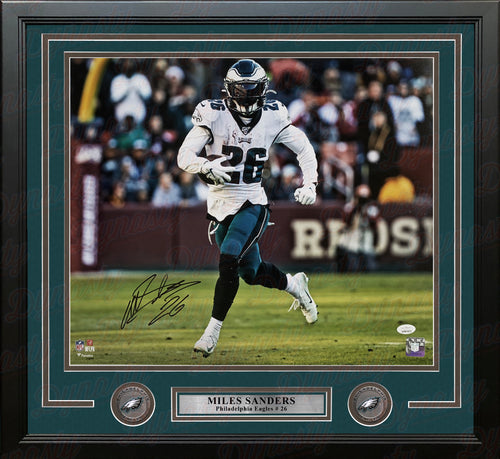 "Miles Sanders on the Run Philadelphia Eagles Autographed 16"" x 20"" Framed Football Photo - Dynasty Sports & Framing"