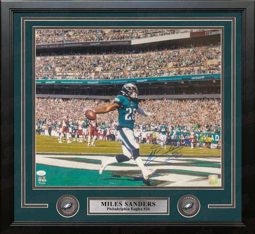 "Miles Sanders Touchdown Celebration Philadelphia Eagles Autographed 16"" x 20"" Framed Football Photo - Dynasty Sports & Framing"