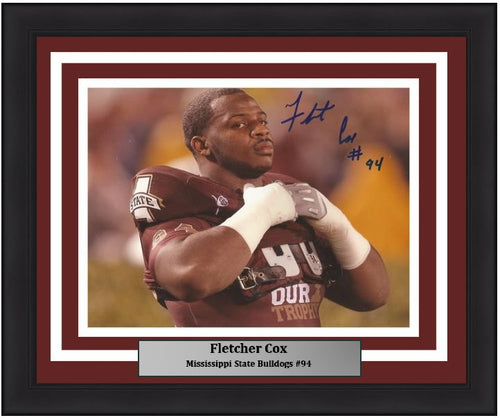 "Fletcher Cox Mississippi State Bulldogs Autographed NCAA College Football 8"" x 10"" Framed and Matted Photo"
