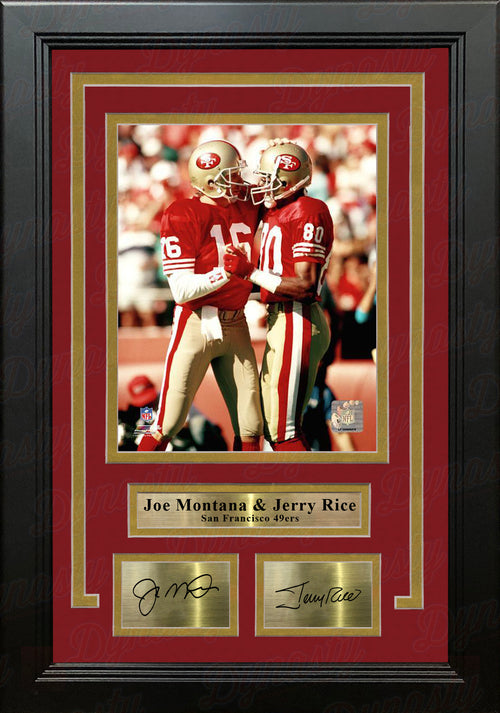 "Joe Montana & Jerry Rice San Francisco 49ers 8"" x 10"" Framed Photo with Engraved Autographs - Dynasty Sports & Framing"