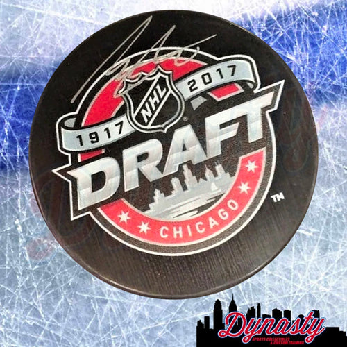 Morgan Frost Autographed Philadelphia Flyers 2017 Hockey Draft Logo Puck - Dynasty Sports & Framing