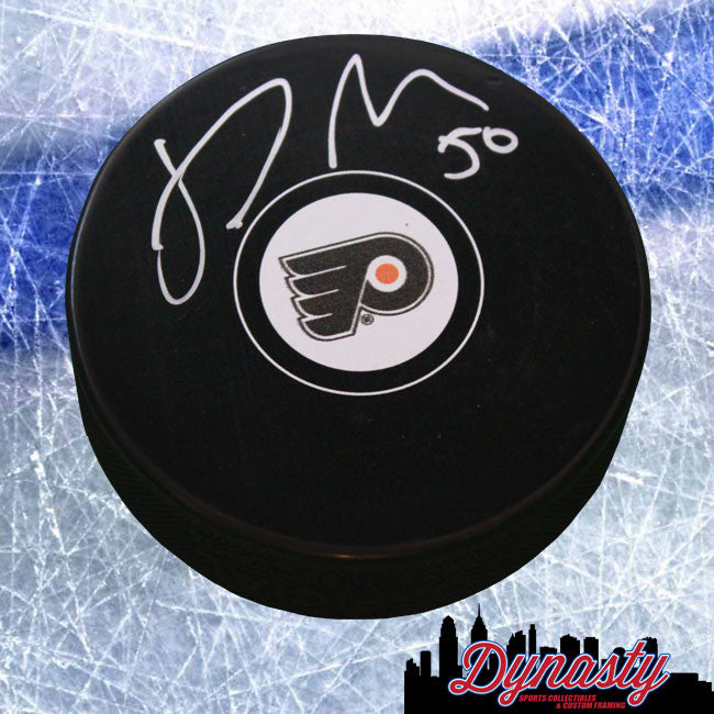 Samuel Morin Philadelphia Flyers Autographed NHL Hockey Logo Puck - Dynasty Sports & Framing