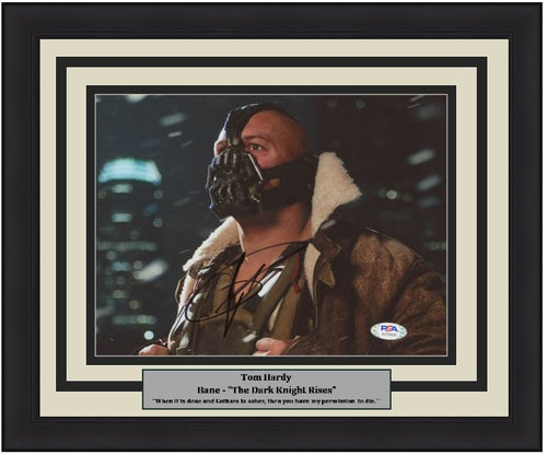 "Tom Hardy Bane Autographed The Dark Knight Rises 8"" x 10"" Framed Photo"