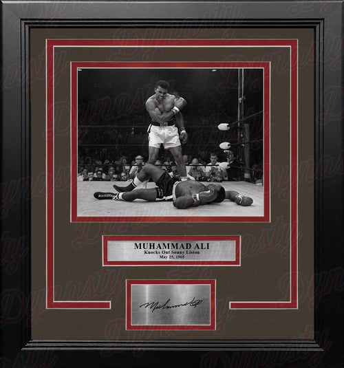 Muhammad Ali Knocks Out Sonny Liston Framed Boxing Photo with Engraved Autograph - Dynasty Sports & Framing