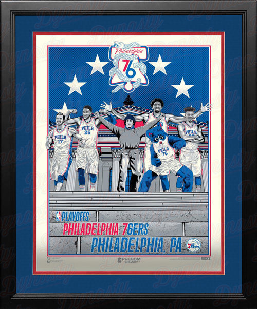 Philadelphia 76ers Official 2019 NBA Playoffs Limited Edition Framed and Matted Poster - Dynasty Sports & Framing