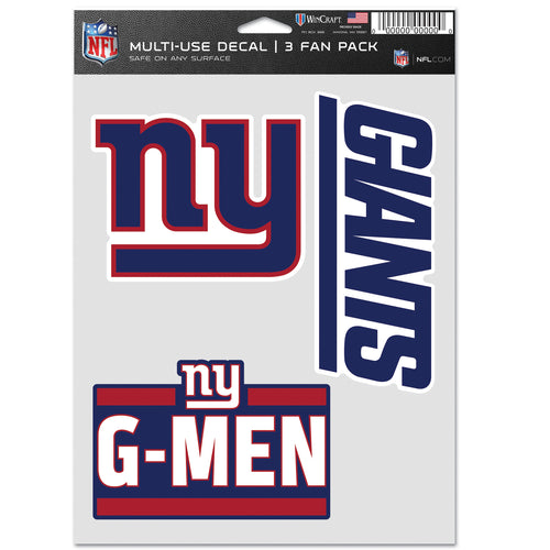 New York Giants 3-Piece Fan Multi Use Decal Set - Dynasty Sports & Framing