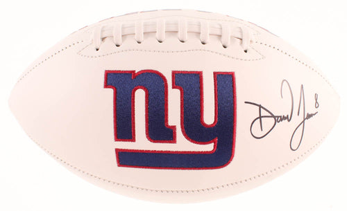 Daniel Jones New York Giants Autographed NFL White Panel Football - Dynasty Sports & Framing