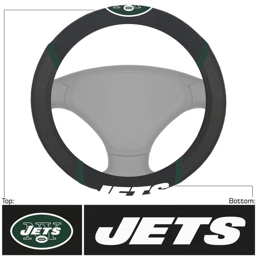 New York Jets Deluxe Football Steering Wheel Cover - Dynasty Sports & Framing