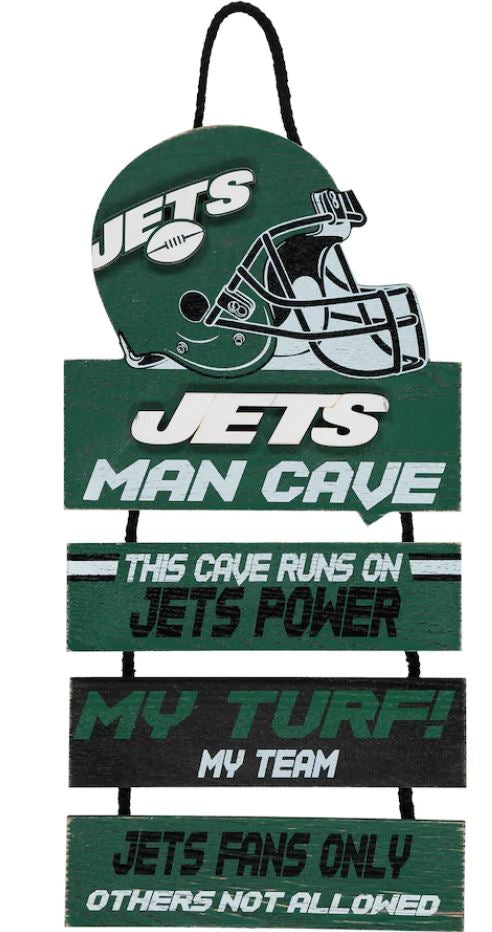New York Jets NFL Football Wooden Helmet Man Cave Dangle Sign