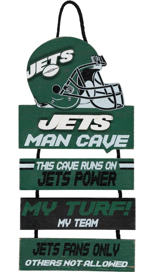 New York Jets NFL Football Wooden Helmet Man Cave Dangle Sign - Dynasty Sports & Framing