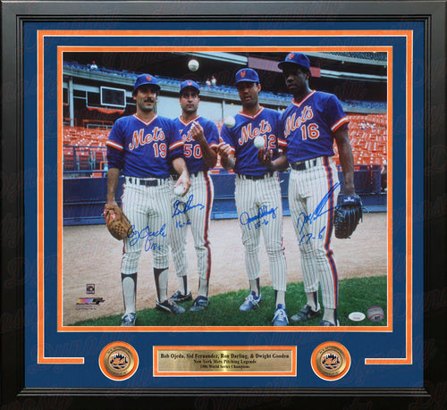 New York Mets 1986 Pitchers Autographed Framed 16x20 Photo (Ojeda, Fernandez, Darling, Gooden) - Dynasty Sports & Framing