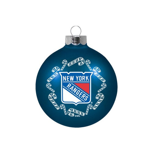 New York Rangers Holiday Glass Ball Ornament - Dynasty Sports & Framing