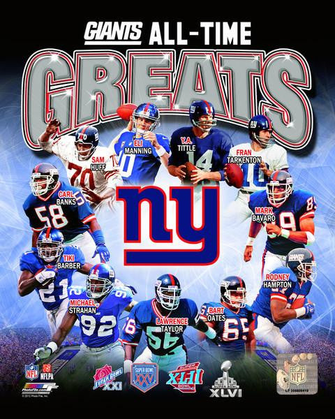 "New York Giants All-Time Greats NFL Football 8"" x 10"" Photo - Dynasty Sports & Framing"