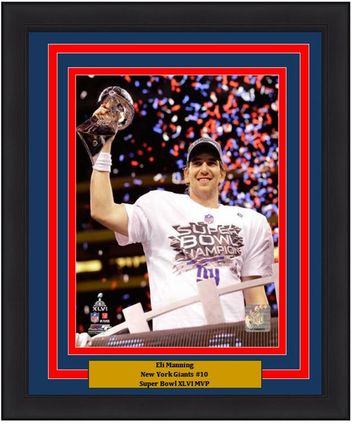 "Eli Manning Super Bowl XLVI Lombardi Trophy New York Giants 8"" x 10"" Framed Football Photo - Dynasty Sports & Framing"