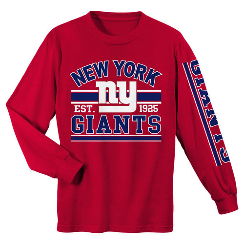 New York Giants NFL Football Graphic Long-Sleeve Red Youth T-Shirt