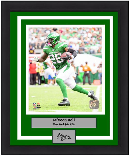 "Le'Veon Bell New York Jets in Action NFL Football 8"" x 10"" Framed and Matted Photo with Engraved Autograph"