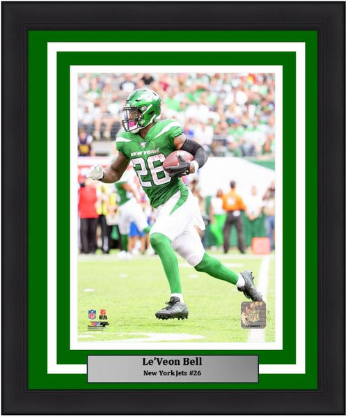 "Le'Veon Bell New York Jets in Action NFL Football 8"" x 10"" Framed and Matted Photo"