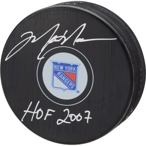 Mark Messier New York Rangers Autographed NHL Hockey Logo Puck with Hall of Fame Inscription