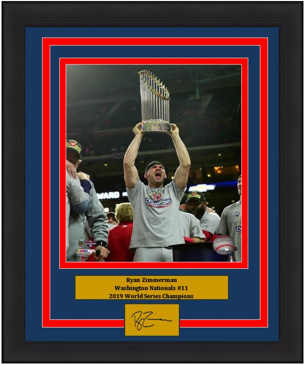 "Ryan Zimmerman Washington Nationals 2019 World Series Champions Trophy 8"" x 10"" Framed Baseball Photo with Engraved Autograph"