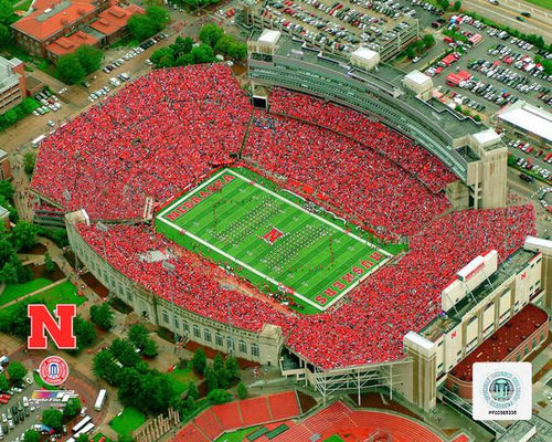 "Nebraska Cornhuskers Memorial Stadium NCAA College Football 8"" x 10"" Photo"